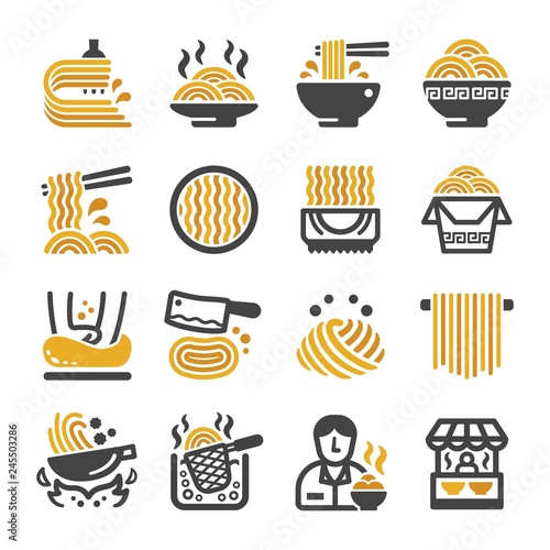 noodle icon set,vector and illustration Canvas Print