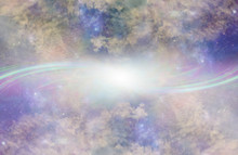 Parallel Universe Portal Background - Two Beautiful   Heavenly Galaxy Planes With Complex Cloud Formations Opposite Each Other,  Connected By A Stream Of Light