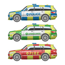 Flat Colorful British Emergency Car. Police, Emergency And Fire Vehicles. Vector Illustration Station Wagon Template. Different Safety Automobile Set.