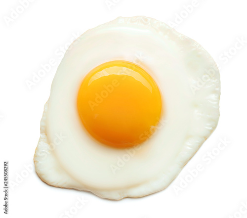 top view of fried egg isolated on white background Fototapet