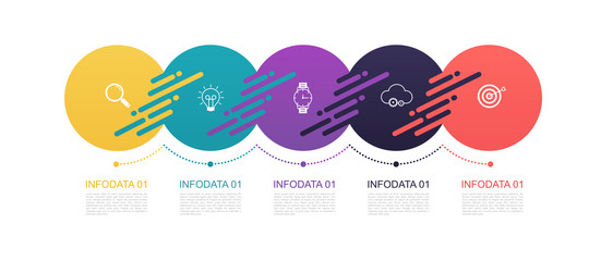Infographics circles pattern design with 5 step structure. Template diagrams, pesentation and chart, pie chart lines, business concept.