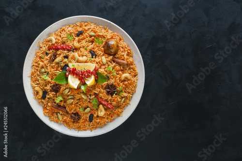 Vegetarian Hyderabadi Dum Biryani. Ramadan food.
