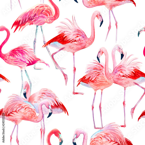 In de dag Flamingo vogel Watercolor seamless pattern pink flamingos illustration.
