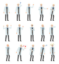 Set Of Old Professor Characters Showing Various Emotions. Professor Laughing, Crying, Tired, Angry, Dazed, Sleeping, Surprised And Showing Other Expressions. Flat Design Vector Illustration