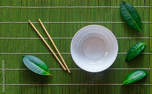 poke bowl, japanese table setting,  green, table, tropical, ceramic,