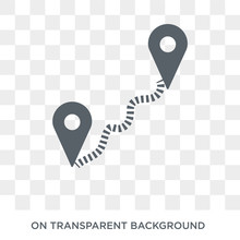 Distance Icon. Trendy Flat Vector Distance Icon On Transparent Background From Maps And Locations Collection. High Quality Filled Distance Symbol Use For Web And Mobile