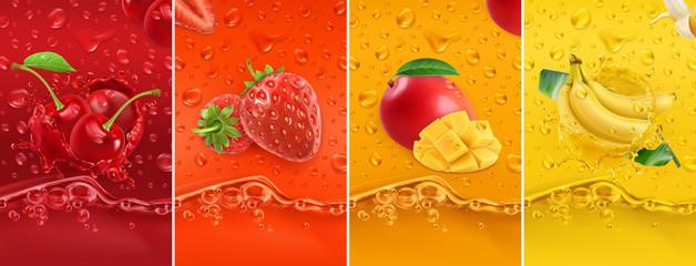 Fototapeta Owoce Juicy and fresh fruit. Cherry, strawberry, mango, banana. Dew drops and splash. 3d vector realistic set. High quality 50mb eps