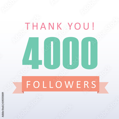 Fotografie, Tablou  4000 followers Thank you number with banner- social media gratitude