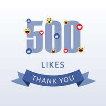 500 Likes Thank You Number Wit...