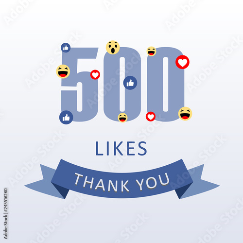 Photo 500 Likes Thank you number with emoji and heart- social media gratitude ecard