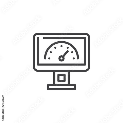 Fototapeta Speed test screen line icon
