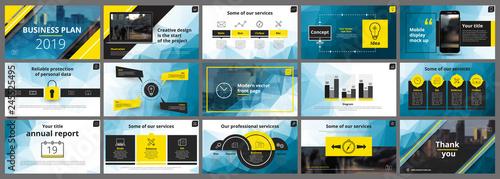 Abstract, yellow blue presentation slides Canvas Print