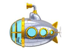 Cartoon Metal Submarine Side