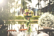 Photos Of Beautiful Wedding Decoration In The Field, In The Open Sky. Rustic Wedding In The Countryside.