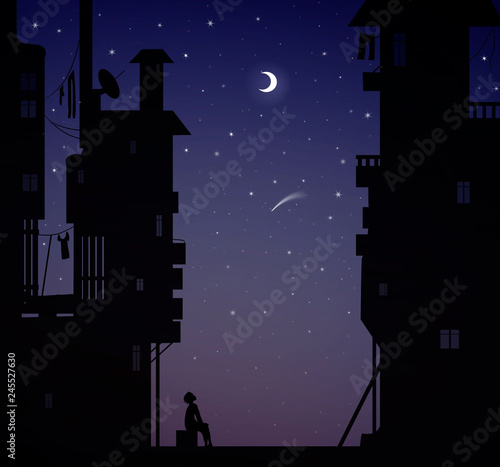Tela night dreamer, boy sits near the city houses and look at the stars, dreams