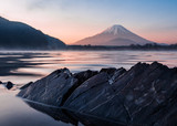 Mount fuji rocks and water at lake shoji