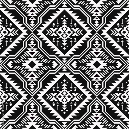 image relating to Native American Designs Printable called Black and white Aztec geometric seamless routine. Indigenous