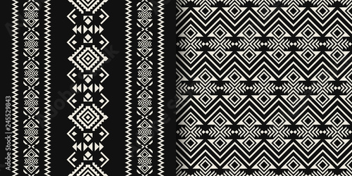 Poster Boho Stijl Black and white Aztec geometric seamless patterns. Native American, Indian Southwest print. Tribal Kilim. Ethnic design wallpaper, fabric, cover, textile, wrapping, rug.