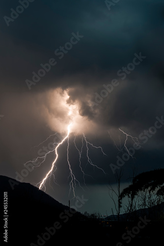 Keuken foto achterwand Onweer Lightning and thunder in a thunderstorm on a summer night