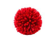 Red Flower Pom Pom Isolated On White Background