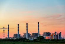 Gas Turbine Electrical Power Plant At Dusk In The Morning