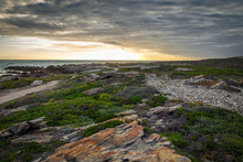 Beatiful Sunset At Cape Agulhas, Southernmost Point Of Africa