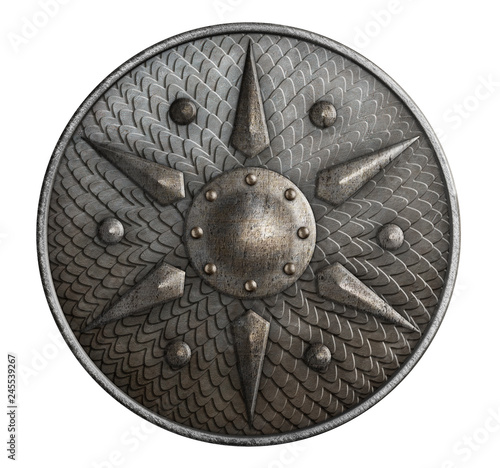Photo Round metal shield covered by scales isolated 3d illustration
