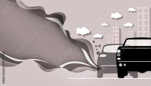 Cutting paper - Road pollution from car smoke / concept Art / Illustrations