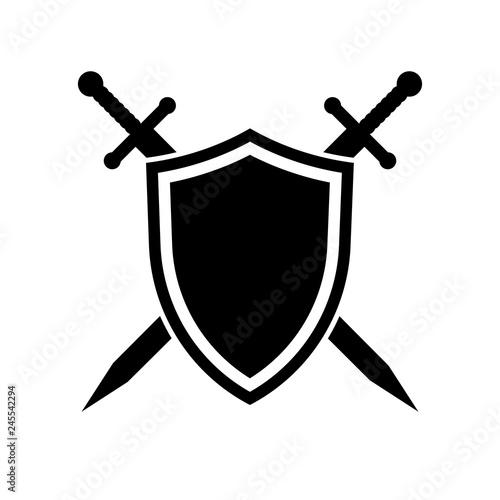 Fotografia Shield and swords. Vector icon
