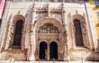 Entrance of gothic church in Lisbon city Portugal