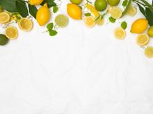 Many Fresh Lemons And Limes An...