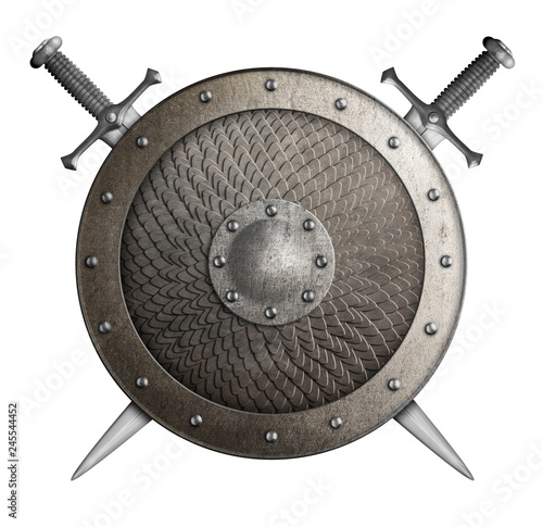 Fototapeta metal shield covered by scales with crossed swords isolated 3d illustration