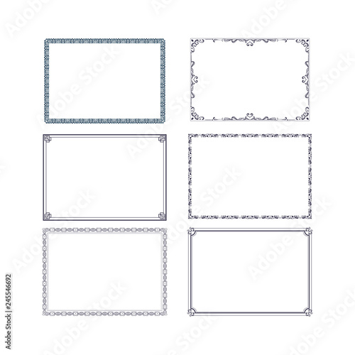 Fotografía  vintage swirl black and white elegant frames set isolated cartoon flat vector illustrations on white background