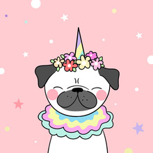 Draw  Pug And Flower On Head