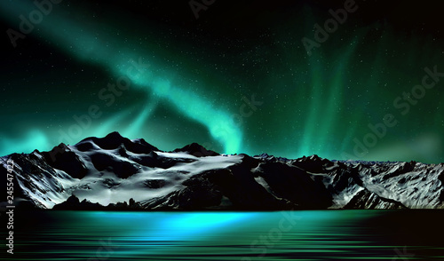 Photo sur Aluminium Aurore polaire Snowy mountains in the north and a spectacular northern lights