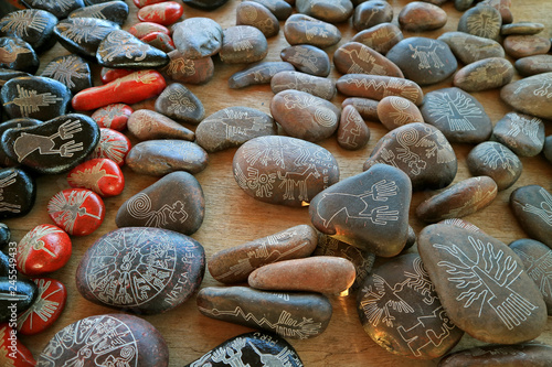 Poster Zuid-Amerika land Souvenir of Nazca lines carved into the various size of pebble stones, Ica region, Peru, South America