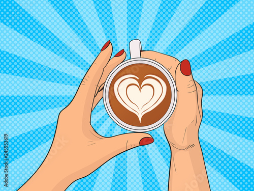Hands holding cup of coffee. Pop Art vintage vector illustration