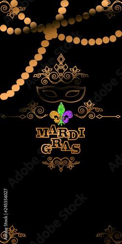 Mardi Gras Carnival Invitation Template With Mardi Gras Caption
