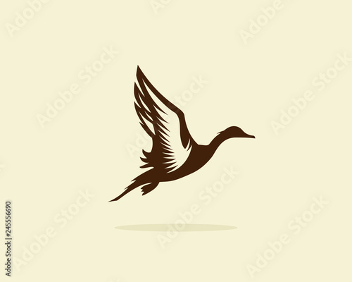 Photo  Flying duck vector illustration, duck icon or symbol, duck hunt