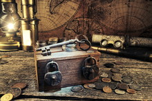 Treasure Chest.Padlocks And Keys.Ship  Lantern,pirate Map.Binoculars,monocles,spy Glass.Travel And Marine Engraving Background.Vintage Style.Treasure Hood Concept.Old Coins.Gold,silver.