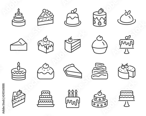 set of bakery icons, such as cake, doughnut,  bread, cheese, pie, tart Fototapeta