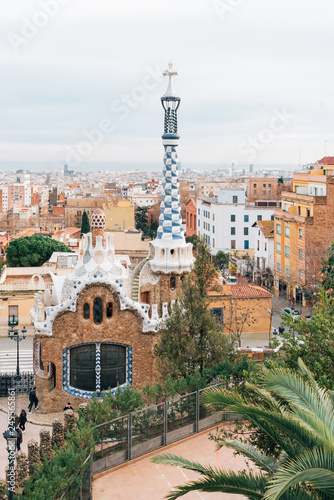 Tuinposter Centraal-Amerika Landen View of Park Guell, in Barcelona, Spain