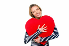 Gorgeous Woman Holding Red Heart - Romantic Concept