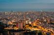 Night cityscape view from Bunkers del Carmel (Colina de la Rovira), in Barcelona, Spain