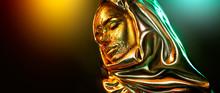 Beautiful Gold Makeup Model Girl Face Portrait. Beauty Woman With Glamour Golden Foil Makeup. Traditional Arabian Muslim Dress, Hijab, Burka, Niqab