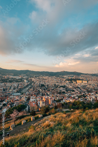 Tuinposter Centraal-Amerika Landen City and mountains view from Bunkers Del Carmel, in Barcelona, Spain