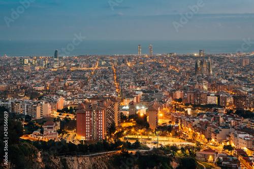 Foto op Canvas Barcelona Night cityscape view from Bunkers del Carmel (Colina de la Rovira), in Barcelona, Spain