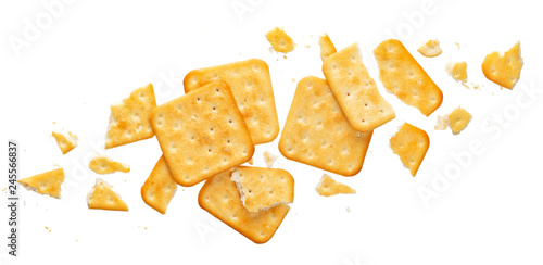 Vászonkép Broken cracker isolated on white background, top view
