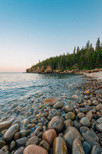 Boulder Beach At Sunset, In Acadia National Park, Maine