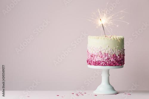 Birthday Cake With Sparkler
